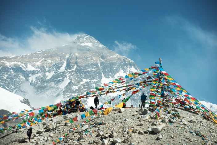 Spectacular mountain scenery on the Mount Everest Base Camp trek through the Himalaya, Nepal